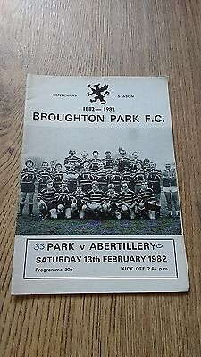 Broughton Park v Abertillery 1982 Rugby Union Programme