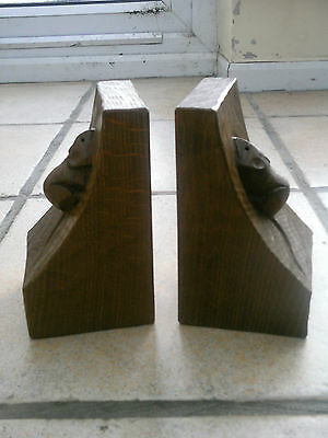 Fabulous Pair Of Robert Thompson Mouseman Hand Carved Oak Bookends