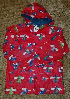 HATLEY Hooded Rain Coat Dragons Terry Cotton Lined Boys/Girls sz 7