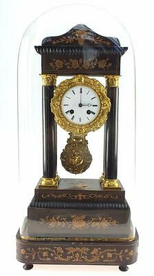 Very Impressive Antique French Ebonised & Bronze Portico Mantel Clock Under Dome