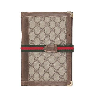 Authentic GUCCI VINTAGE GG MONOGRAM Canvas A5 AGENDA COVER with Stripes