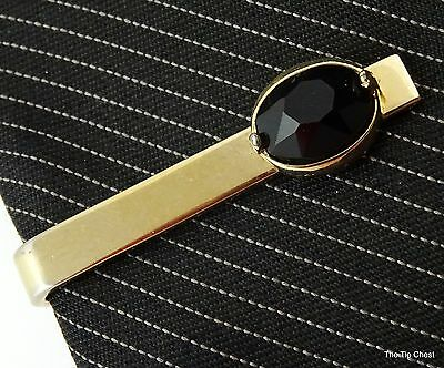 Swank Tie Clip Clasp Gold Tone Black Faceted Stone Short 1 1/4""