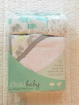Aden & Anais Ideal Baby Grey Teal Elephants Washcloth And Hooded Towel Set