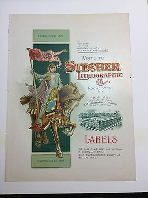Stecher Lithographic Co. Labels  Rochester New York Advertisement Knight Horse