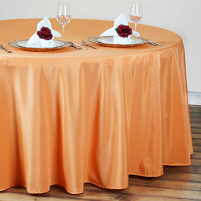 "10 ORANGE 90"" ROUND POLYESTER TABLECLOTHS Wholesale Fall Wedding Decorations"