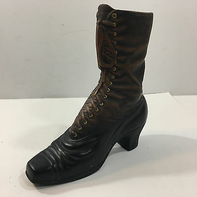 """Vintage 1700's woman's boot ceramic figurine (Leather Brown, 8""""x8"""")"""