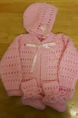 Hand knitted baby matinee coat/cardigan set 0-3months pink