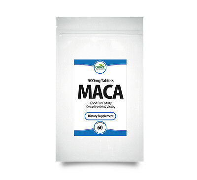 60 Maca Root Extract 500mg Tablets for Energy, Fertility PMT, Fitness, Stamina