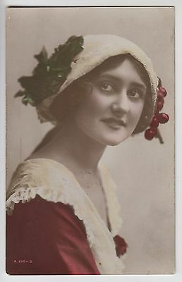 """POSTCARD - glamour, pretty lady, cherries on hat """"British Beauty"""" tinted RP"""