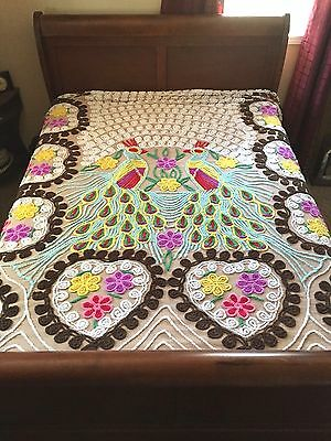 Vintage CHENILLE Mid Century DOUBLE PEACOCK Bedspread Full QUEEN King BLANKET
