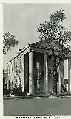 "Cheraw South Carolina ""old Town Hall"" Unused Postcard"