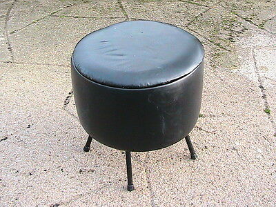 VINTAGE 1960s ROUND STOOL  / Pouffe WITH STORAGE SEWING BOX IN BLACK LEATHERETTE