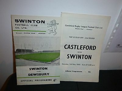 2 No 1960's Rugby League Programmes Featuring Swinton