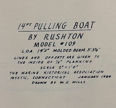 Vintage Plans 14' Pulling Boat by Rushton Model #109 from 1984