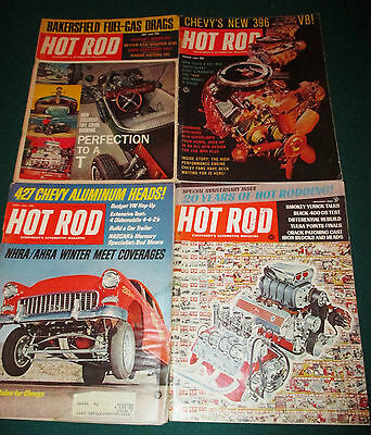 Lot of - 4 - Vintage - 1965 - 1968  -  Hot Rod - Car Magazines