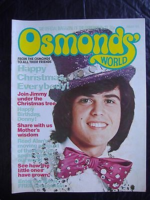 OSMONDS WORLD MAGAZINE ~ No 27 VINTAGE JANUARY 1976 ~ DONNY OSMOND & MARIE