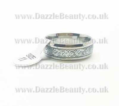 XMAS Men's Silver Celtic Dragon Titanium Stainless Steel Band Ring @dazzlebeauty