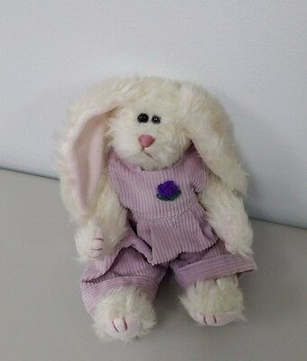 "TY Attic Collection White Rabbit w/ Purple Overalls ""Iris"" 1993 Jointed 9"""