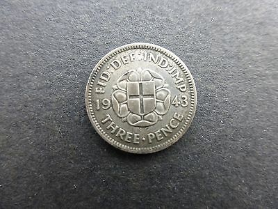 George vi silver Threepence coin 1943 key date