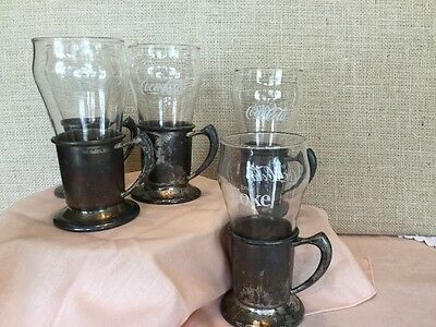 Set of 5 Coke Glasses with Silver Plated Holders