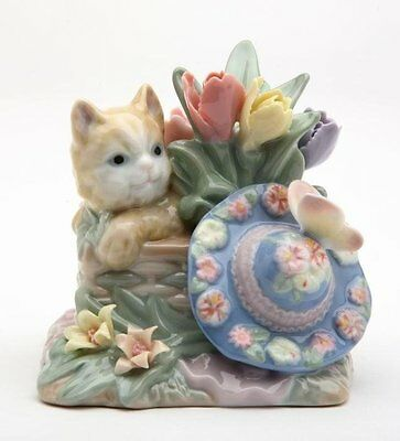 3.5 Inch Ginger Cat Sitting In Basket with Flowered Hat Figurine