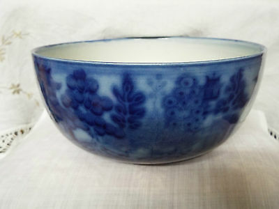 Antique Doulton Burslem Flow BLue Bowl Willow Pattern 22cm Diameter