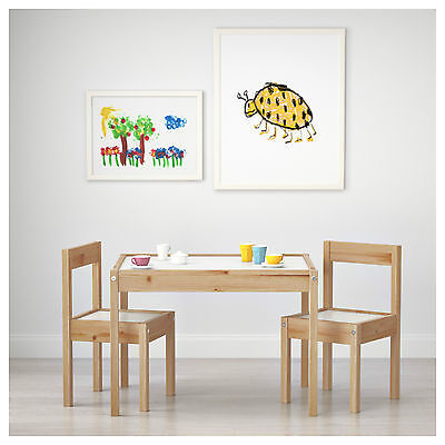 IKEA-LATT-Childrens-Wooden-table-and-2-Chairs-Pine-Wood-White