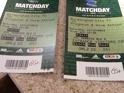 Brighton & Hove Albion match tickets against Birmingham on 17 December @ 17.30