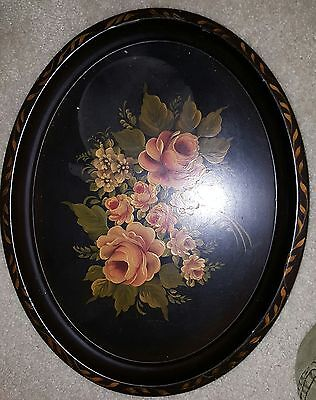 Antique Vintage Black Toleware Tray Painted With Pink Roses Approx. 20x10
