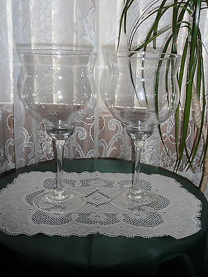 """Large Clear Glass Goblets - 12 3/4"""" Tall"""