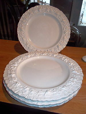 5 Wedgewood China Queensware Cream On Cream Shell Dinner Plates-10 1/4""