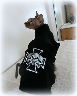 SKULLS small adult goth Sphynx clothes sweater for a cat, Nacktkatze pet clothes