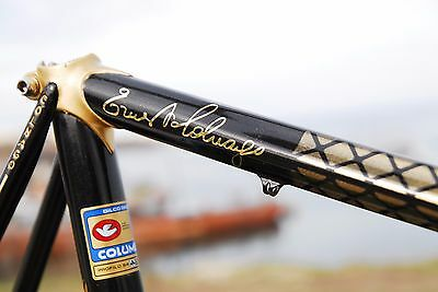 Signature Ernesto Colnago Decals. Sign. Mirror gold. For fan. Frame restyling.