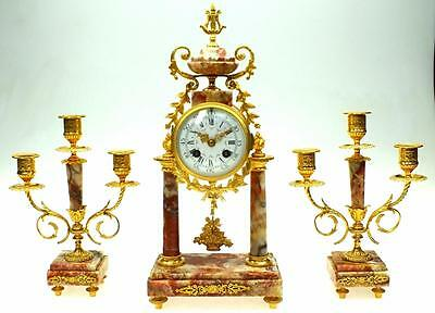 Antique French Eztremos Pink Marble & Ormolu 8Day Striking Portico Mantel Clock