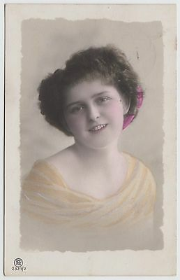 POSTCARD - glamour, pretty smiling young lady, tinted real photo