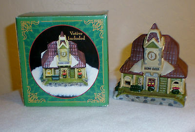 "Train Station Ceramic Votive Candle Holder ""Railway Station"" NIB"