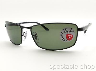 d5e62887b3 Ray Ban RB 3498 002 9A Black Polarized Green New Authentic Sunglasses
