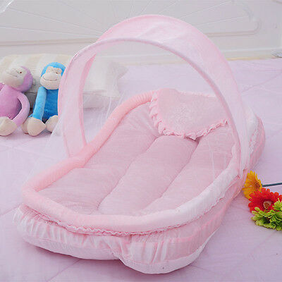 Newborns Cradle Mosquito Net Foldable Baby Cot Canopy Tent Cushion Pillow HOT