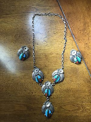 Vintage Zuni Sterling Silver Necklace And Earrings Stamped Sterling CJ