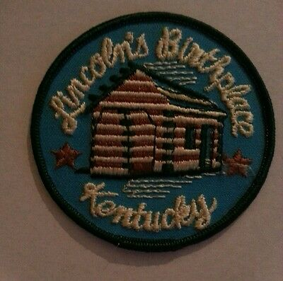 """Lincolns Birthplace Kentucky Sew On Patch Cabin Patch Souvenir 3"""" Patch"""