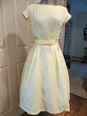 Vtg. 50's -60's Hand Made Pale Yellow Chiffon Satin Wedding Party  Dress