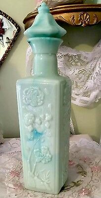 Vintage JADEITE PAGODA Jim Beam DECANTER Milk Glass AQUA  Beautiful!