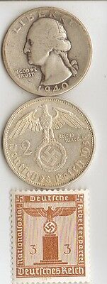 - *Three - *silver  WWII - *US  and  *german  coins / stamps+..