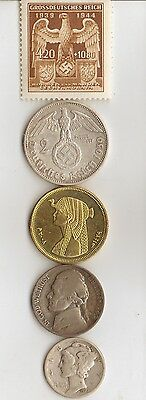 """-**egyp. """"Cleopatra"""" coin  +  -*WW2- *germann SILVER  EAGLE  coin/stamp"""