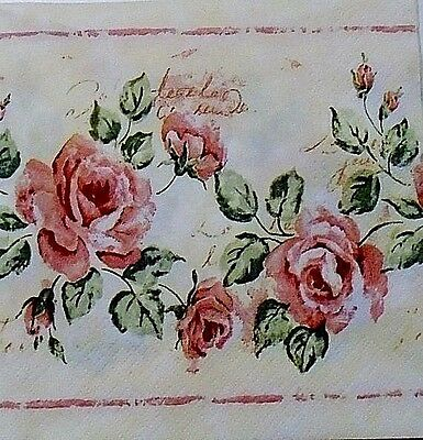 TWO (2) Paper Luncheon Napkins for Paper Crafts, Vintage Roses, Shabby Chic