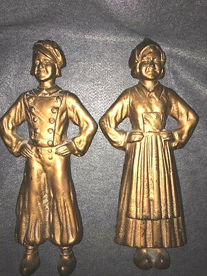 Vintage Cast Iron Figural Andirons Dutch Boy and Girl Front No Back Stands or Le