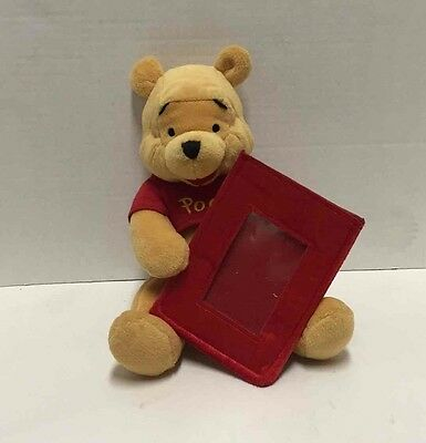 """Winnie The Pooh Plush Picture Frame 9"""" Disney Store Stuffed Toy Photo Holder"""