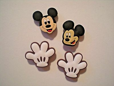 CLOG SHOE CHARM 4 MICKEY MINNIE MOUSE GLOVES BOWS  FITBIT BRACELET