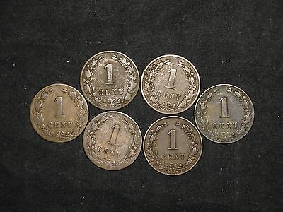 lot of 6 Netherlands 1 cent 1878-1883