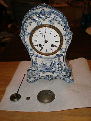 Antique-French-China Case Mantle Clock-Ca.1900-Japy-To Restore-#N185